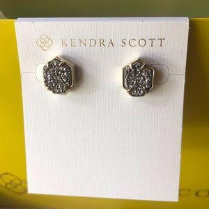 KS Tessa Gold Stud Earrings In Platinum Drusy